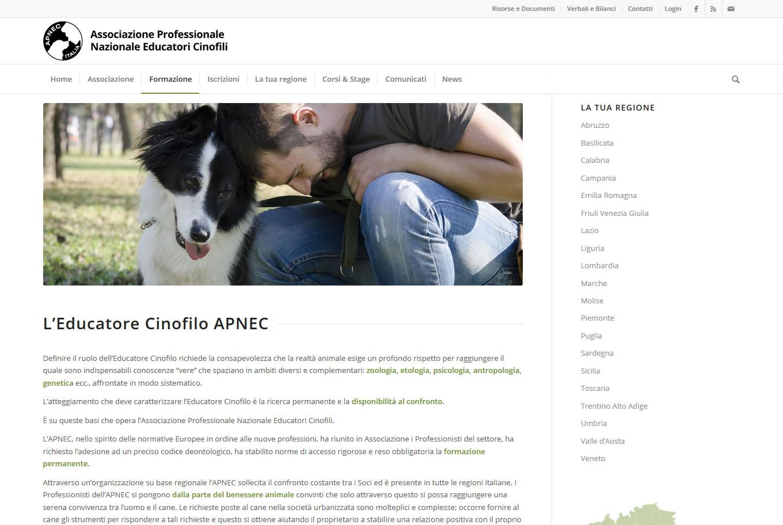 Sito web per l'Associazione Professionale Nazionale Educatori Cinofili