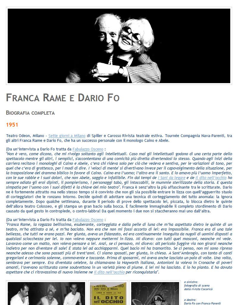 Biografia web di Franca Rame e Dario Fo