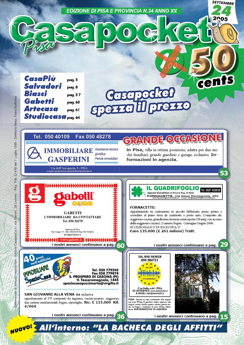 Casapocket Pisa - 24 settembre 2005 copertina