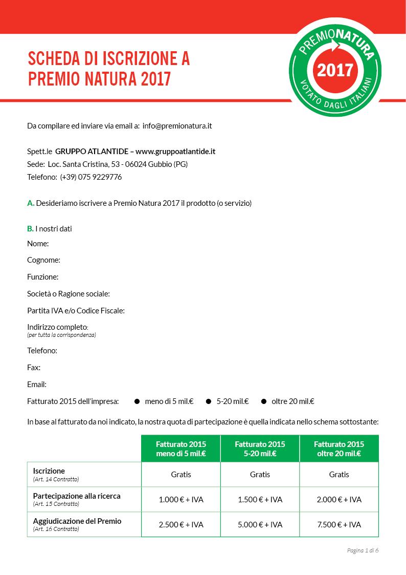 Modulo di iscrizione a Premio Natura - pag1