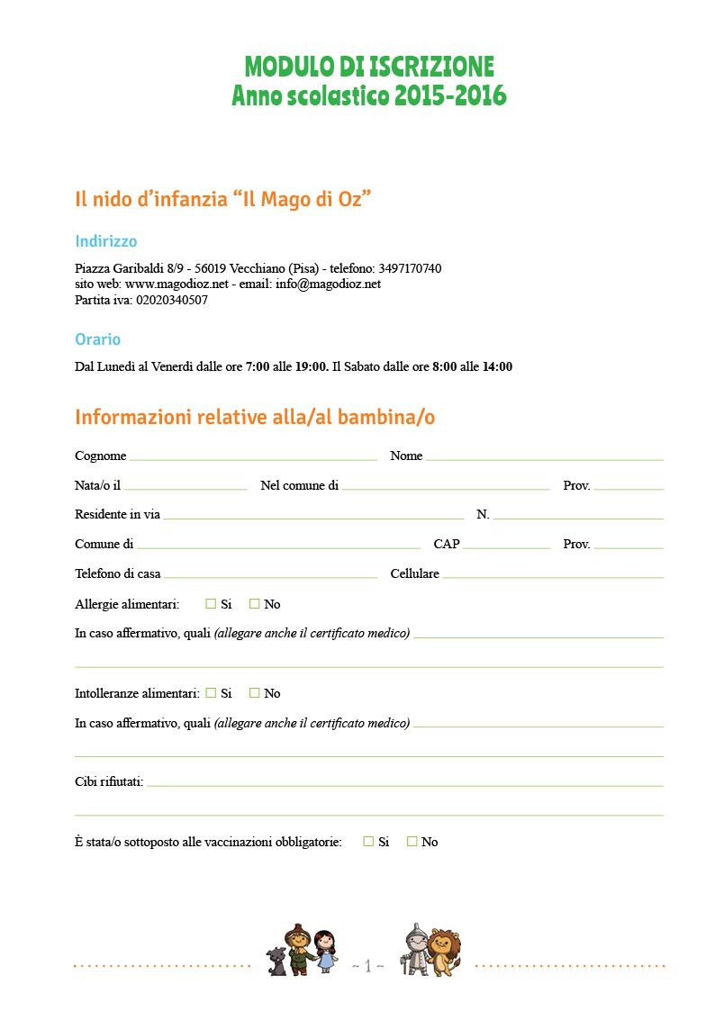 Modulo di iscrizione - pag1