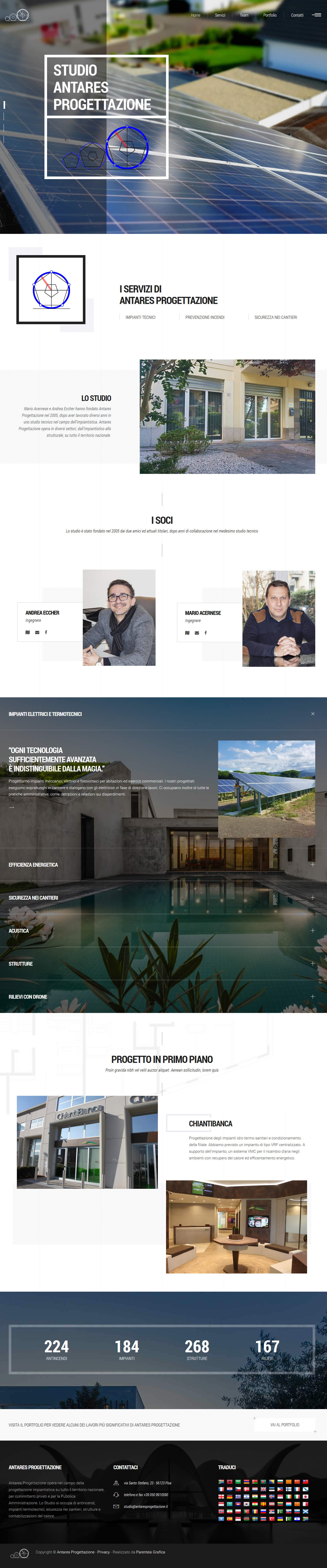 Sito web Antares Progettazione - homepage