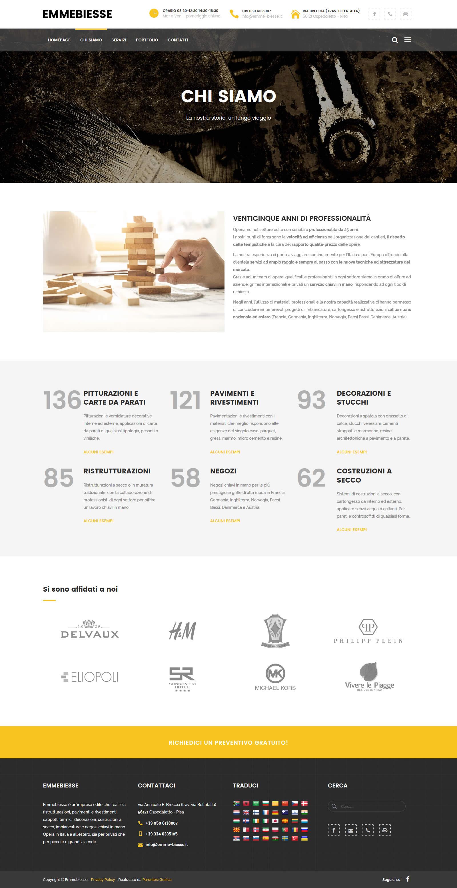 Sito web Emmebiesse - pagina chi siamo