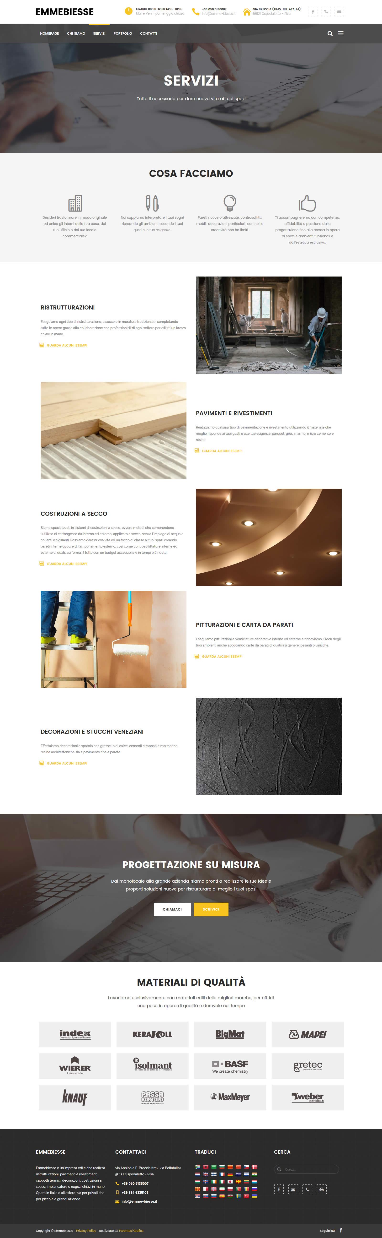 Sito web Emmebiesse - pagina servizi