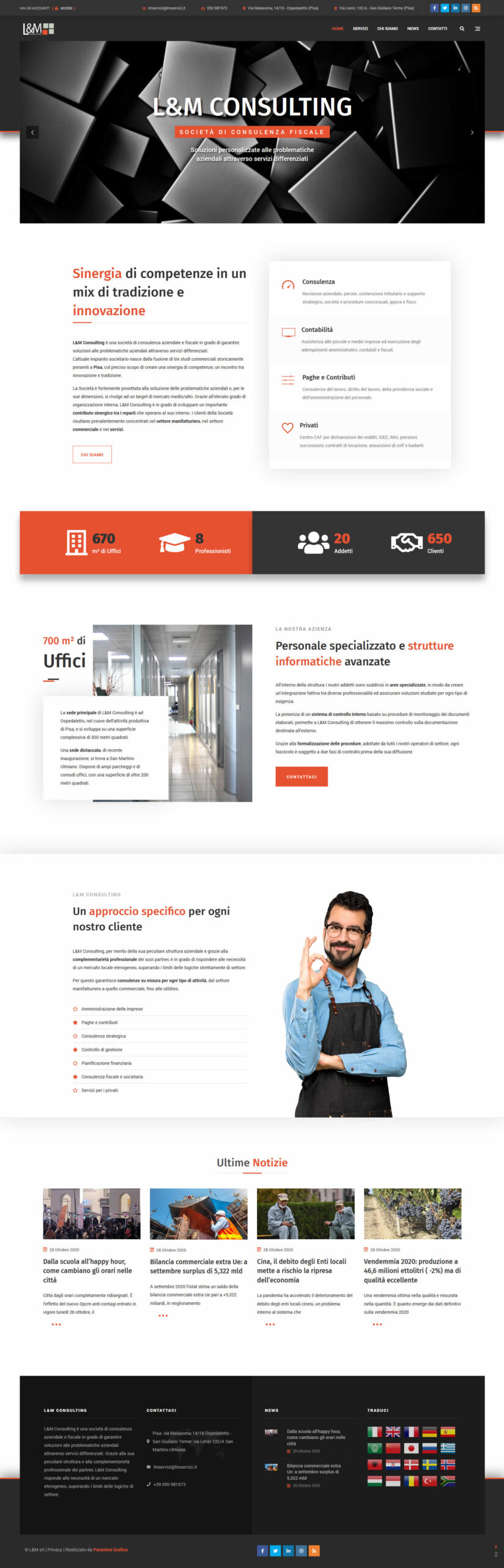 Sito web L&M Consulting - homepage