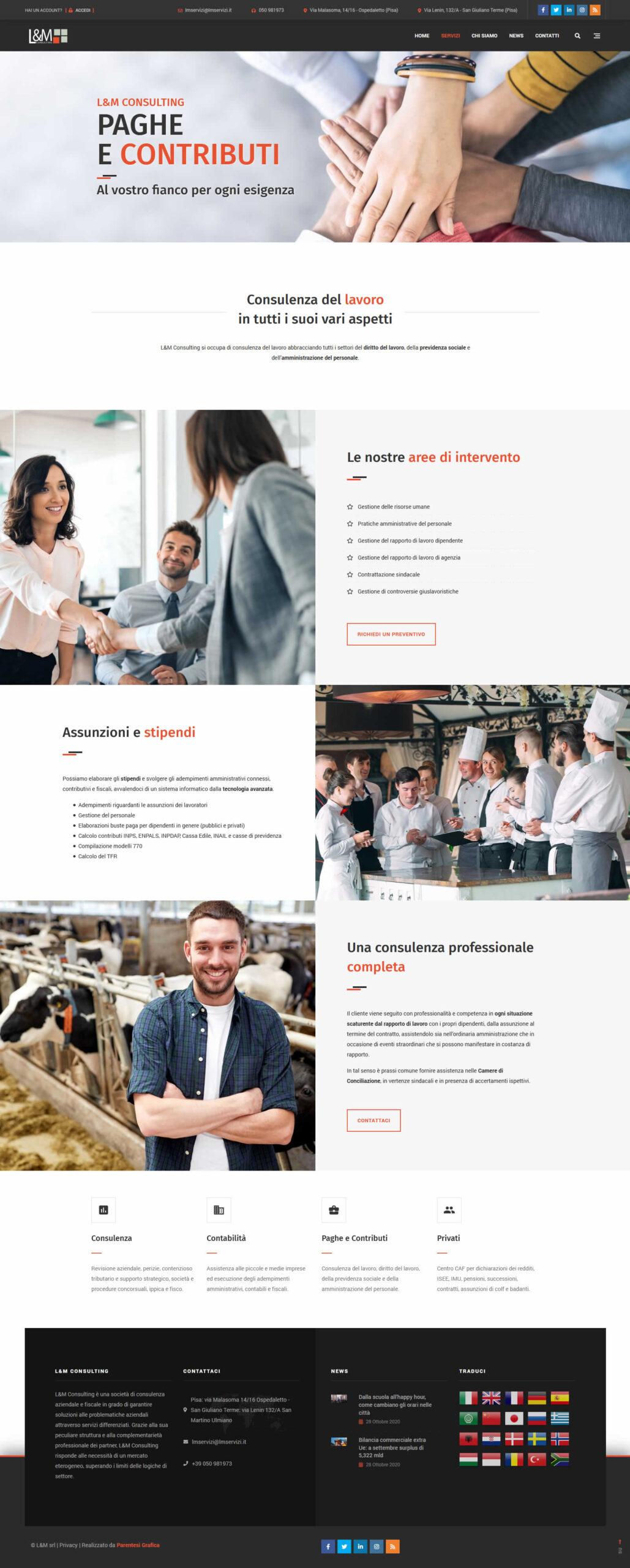 Sito web L&M Consulting - paghe e contributi