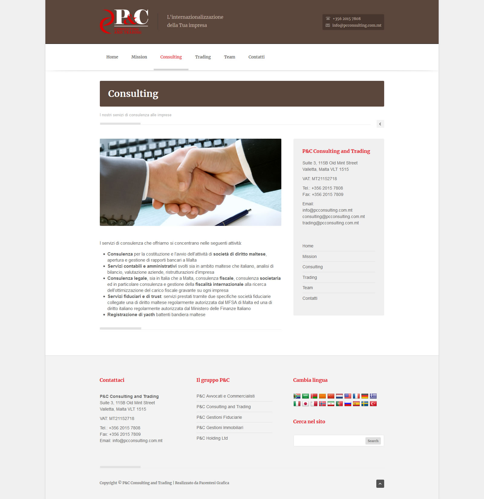 Sito web P&C Consulting and Trading - Consulting page