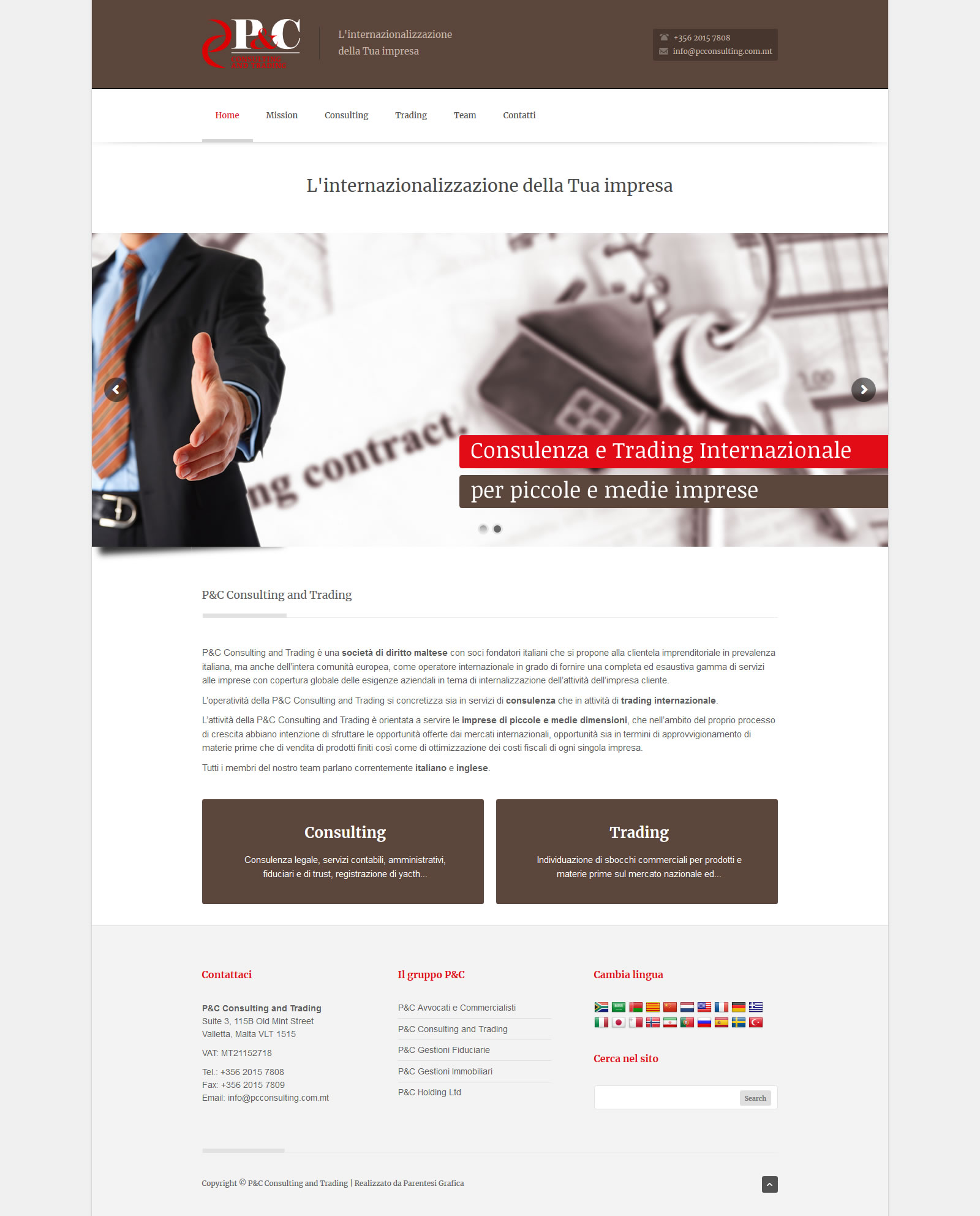 Sito web P&C Consulting and Trading - homepage
