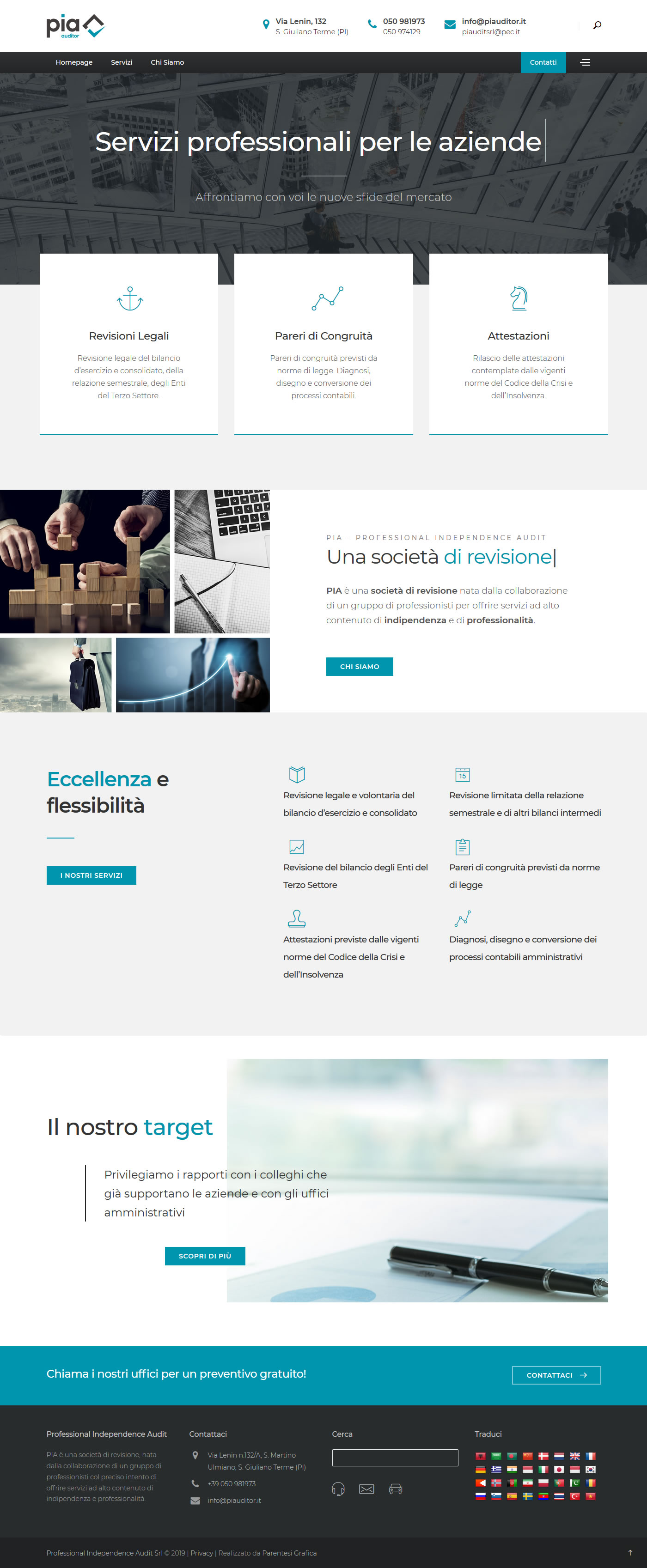 Sito web di PIA Professional Independence Audit